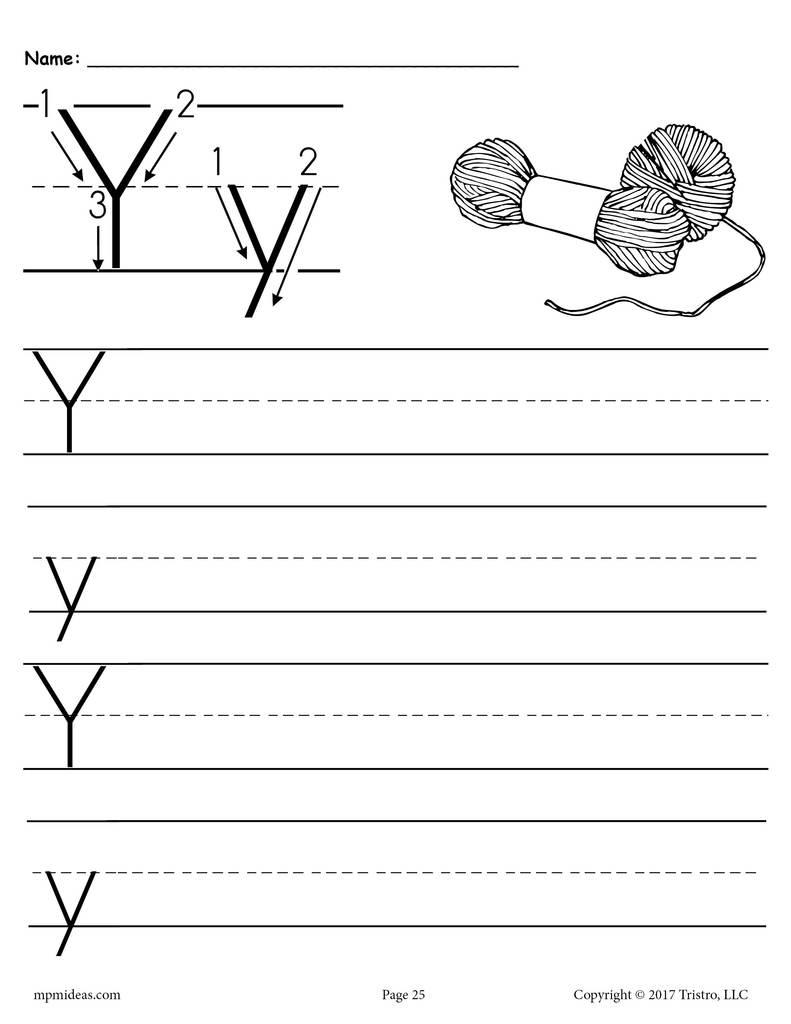 Printable Letter Y Handwriting Worksheet Supplyme