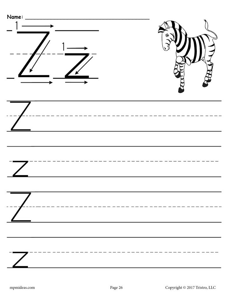 Printable Letter Z Handwriting Worksheet Supplyme