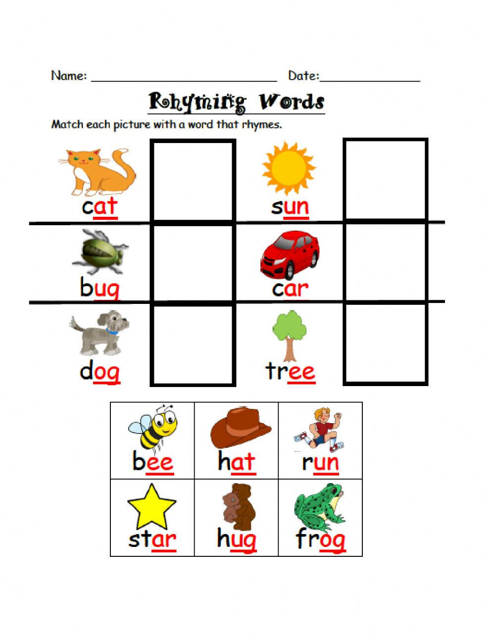 Rhyming Words Interactive Exercise For Kinder