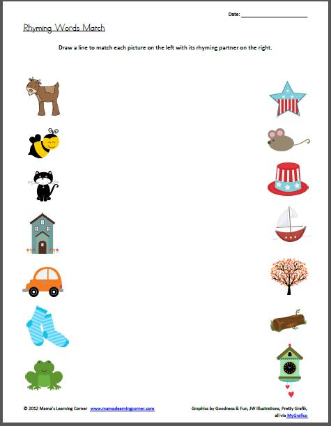 Rhyming Words Match Worksheet
