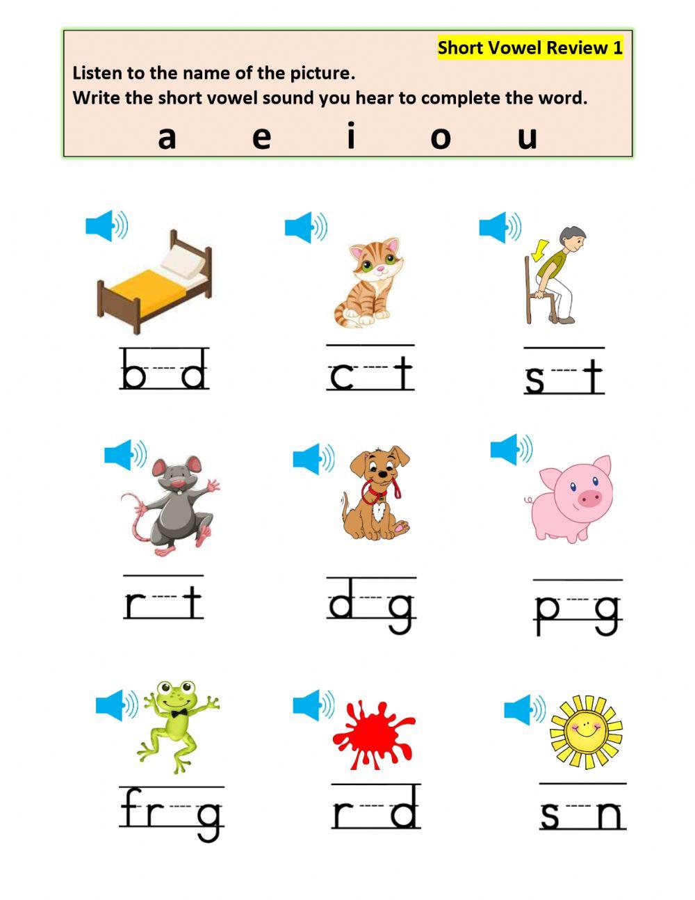 Short Vowel Review Worksheet