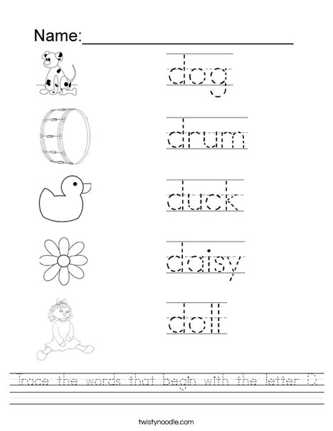 Trace The Words That Begin With The Letter D Worksheet