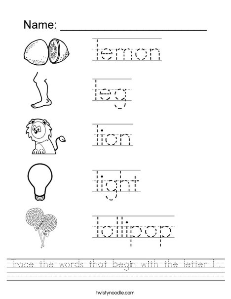 Trace The Words That Begin With The Letter L Worksheet