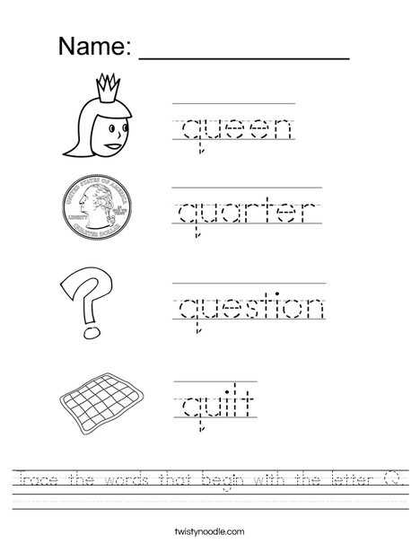Trace The Words That Begin With The Letter Q Worksheet