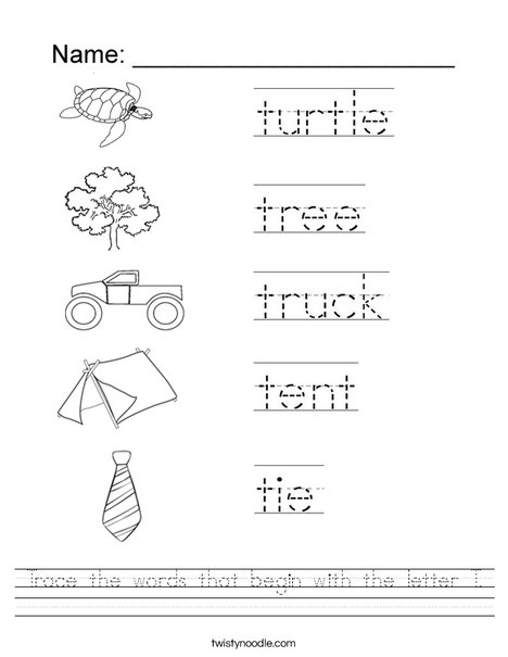 Trace The Words That Begin With The Letter T Worksheet