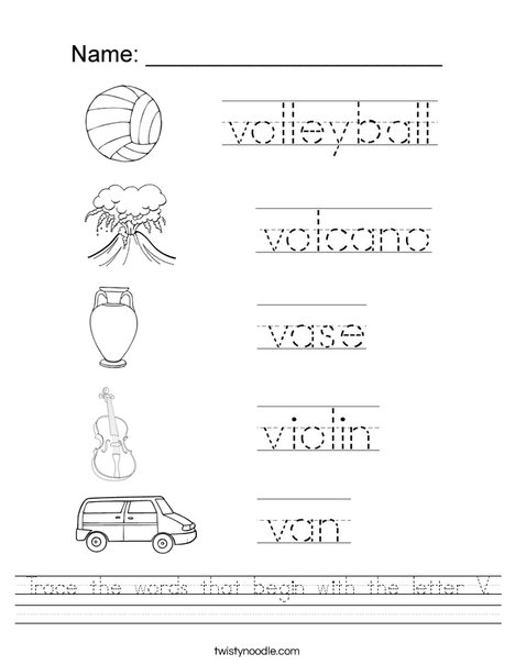 Trace The Words That Begin With The Letter V Worksheet
