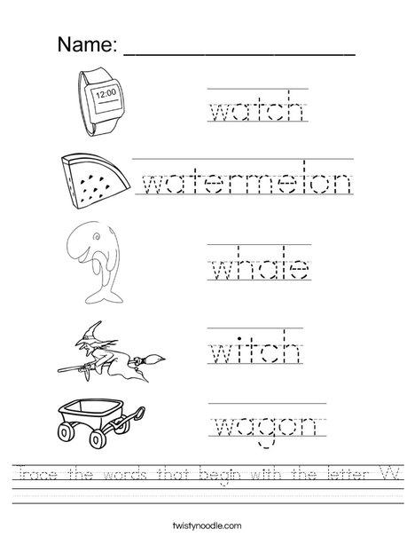 Trace The Words That Begin With The Letter W Worksheet