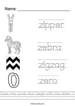 Cursive Words Starting With Z Worksheets