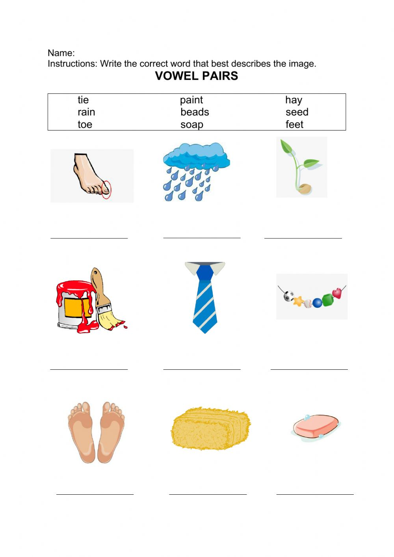Vowel Pairs Worksheet