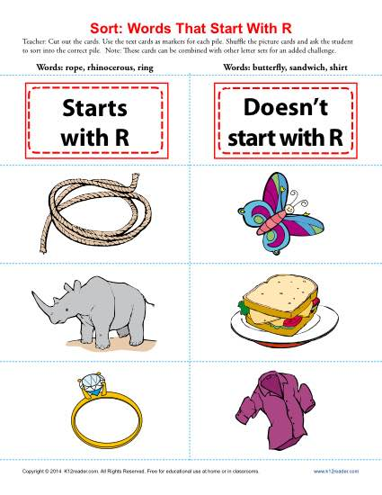 Words Starting With Letter R