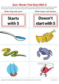 Cursive Words Starting With S Worksheets