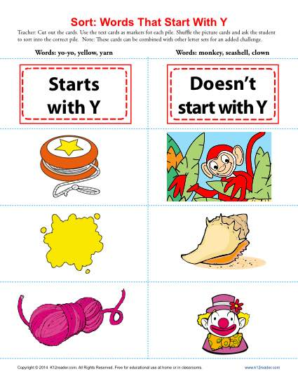 Cursive Words Starting With Y Worksheets