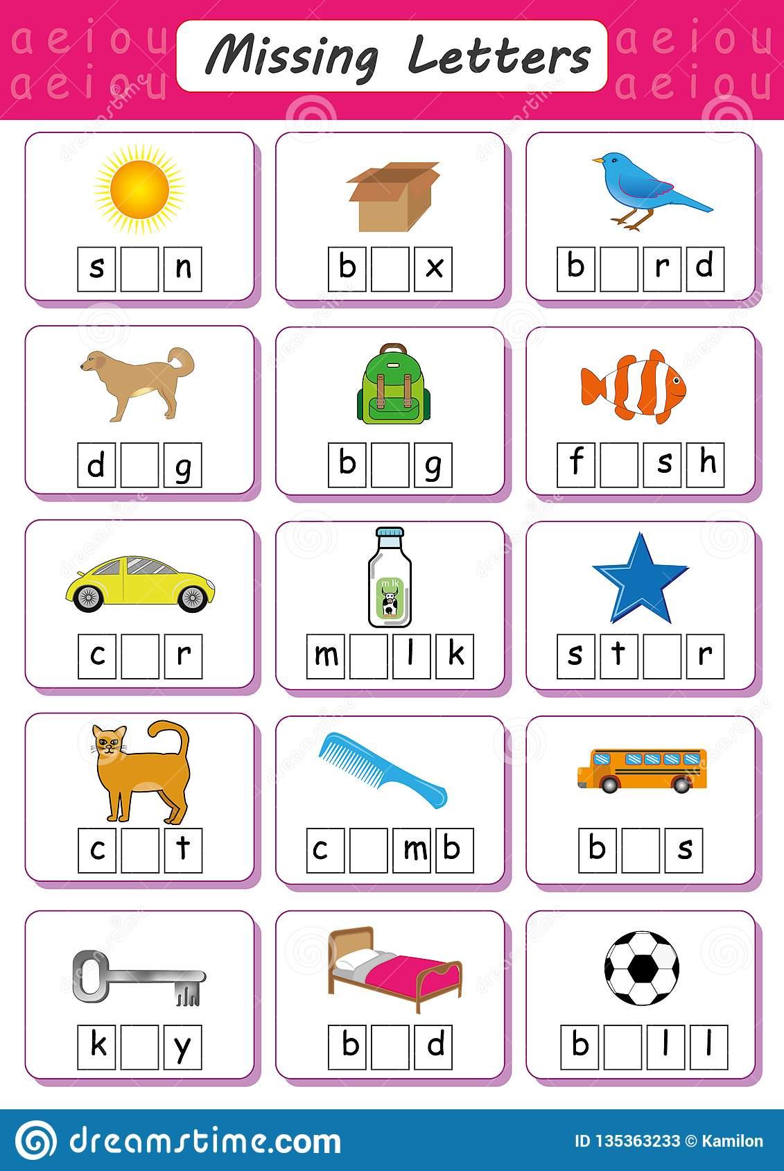 Writing Short Vowel Worksheets for Preschool and Kindergarten